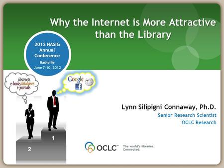 2012 NASIG Annual Conference Nashville June 7-10, 2012 Lynn Silipigni Connaway, Ph.D. Senior Research Scientist OCLC Research Why the Internet is More.