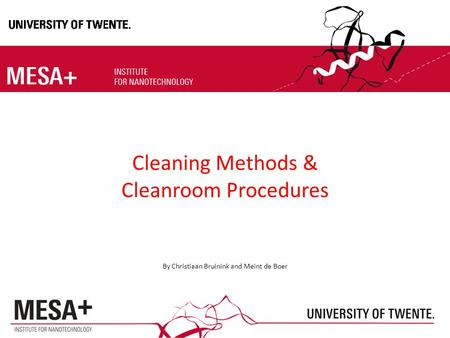 cleaning methods and procedures pdf