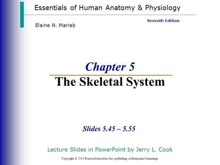 Essentials of Human Anatomy & Physiology Copyright © 2003 Pearson Education, Inc. publishing as Benjamin Cummings Slides 5.45 – 5.55 Seventh Edition Elaine.