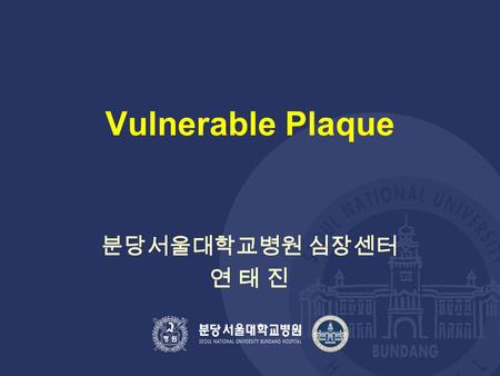 Vulnerable Plaque 분당서울대학교병원 심장센터 연 태 진. Causes / mediators of atherothrombosis Endothelial dysfunction Fatty streak Fibrous plaque Unstable Fibrous plaque.