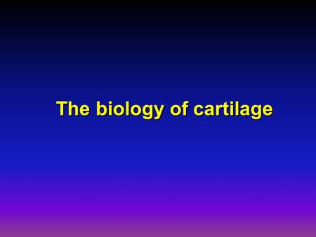 The biology of cartilage. l has a biomechanic function l is localized on the articular surfaces of the joints. l has a biomechanic function l is localized.