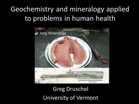 Geochemistry and mineralogy applied to problems in human health Greg Druschel University of Vermont.