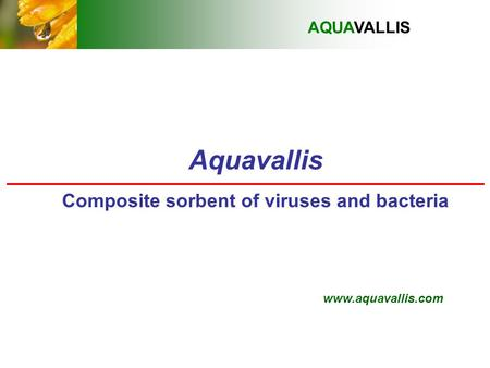 Aquavallis Composite sorbent of viruses and bacteria AQUAVALLIS www.aquavallis.com.