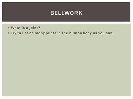 bellwork What is a joint?