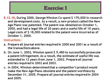 Exercise 1 E.12.10, During 2000, George Winston Co spent $ 170,000 in research and development costs. As a result, a new product called the New Age Piano.