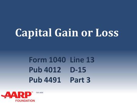 TAX-AIDE Capital Gain or Loss Form 1040Line 13 Pub 4012D-15 Pub 4491Part 3.