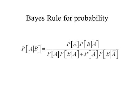 Bayes Rule for probability. Let A 1, A 2, …, A k denote a set of events such that An generalization of Bayes Rule for all i and j. Then.