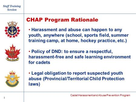 Cadet Harassment and Abuse Prevention Program Harassment and abuse can happen to any youth, anywhere (school, sports field, summer training camp, at home,