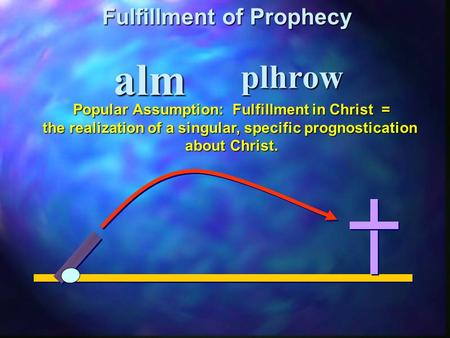 Alm Fulfillment of Prophecy plhrow Popular Assumption: Fulfillment in Christ = the realization of a singular, specific prognostication about Christ.