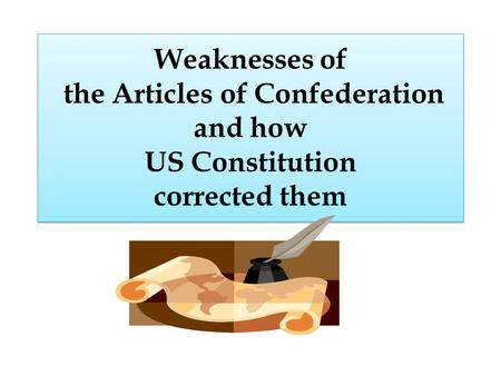 Weaknesses of the Articles of Confederation and how US Constitution corrected them.