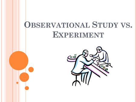 O BSERVATIONAL S TUDY VS. E XPERIMENT. O BSERVATIONAL S TUDY The researcher observes individuals and measures variables of interest without influencing.