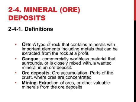 2-4. mineral (ore) deposits