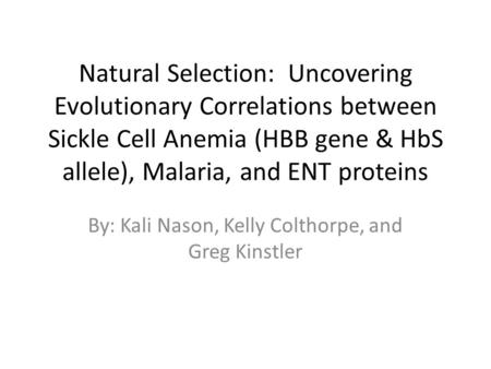Natural Selection: Uncovering Evolutionary Correlations between Sickle Cell Anemia (HBB gene & HbS allele), Malaria, and ENT proteins By: Kali Nason, Kelly.