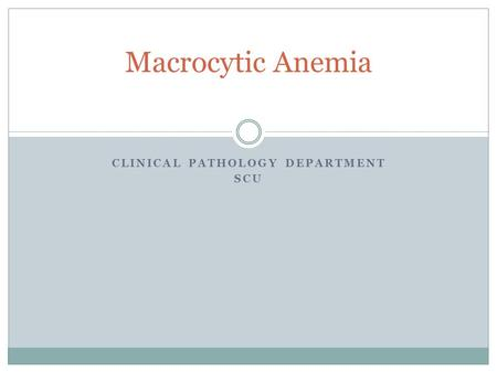 CLINICAL PATHOLOGY DEPARTMENT SCU Macrocytic Anemia.