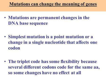 Mutations are permanent changes in the DNA base sequence Simplest mutation is a point mutation or a change in a single nucleotide that affects one codon.
