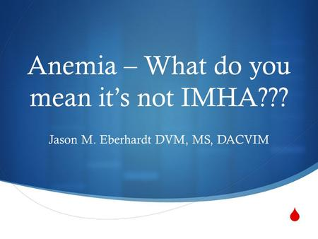  Anemia – What do you mean it's not IMHA??? Jason M. Eberhardt DVM, MS, DACVIM.