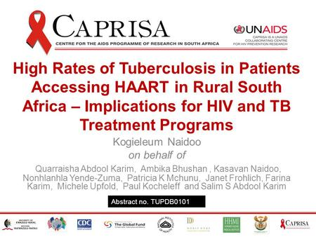 High Rates of Tuberculosis in Patients Accessing HAART in Rural South Africa – Implications for HIV and TB Treatment Programs Kogieleum Naidoo on behalf.