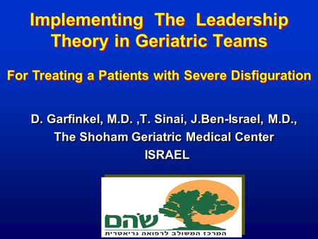 Implementing The Leadership Theory in Geriatric Teams D. Garfinkel, M.D.,T. Sinai, J.Ben-Israel, M.D., The Shoham Geriatric Medical Center ISRAEL D. Garfinkel,