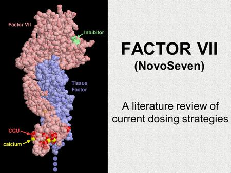 FACTOR VII (NovoSeven) A literature review of current dosing strategies.