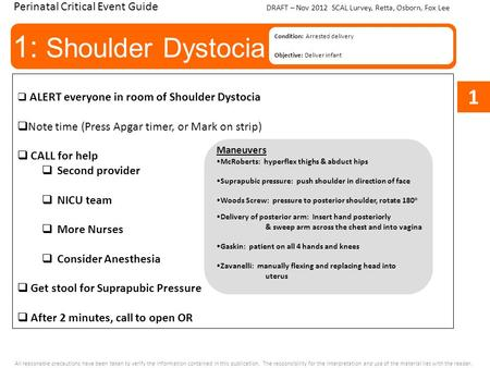 1: Shoulder Dystocia Condition: Arrested delivery Objective: Deliver infant Perinatal Critical Event Guide  ALERT everyone in room of Shoulder Dystocia.