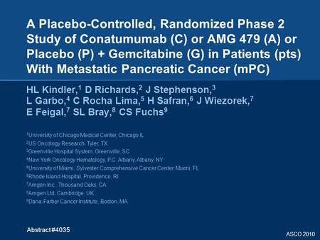 ASCO 2010 A Placebo-Controlled, Randomized Phase 2 Study of Conatumumab (C) or AMG 479 (A) or Placebo (P) + Gemcitabine (G) in Patients (pts) With Metastatic.