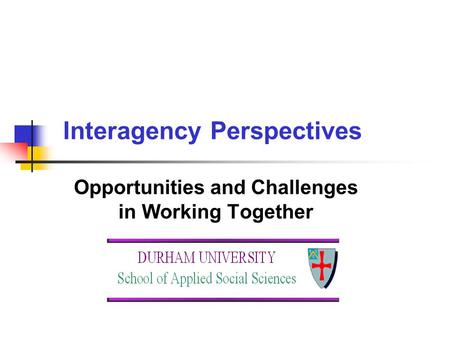 Interagency Perspectives Opportunities and Challenges in Working Together.