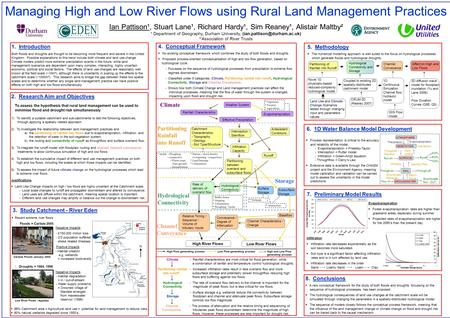 2. Research Aim and Objectives To assess the hypothesis that rural land management can be used to minimise flood and drought risk simultaneously 1) To.