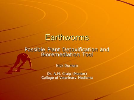 Earthworms Possible Plant Detoxification and Bioremediation Tool Nick Durham Dr. A.M. Craig (Mentor) College of Veterinary Medicine.