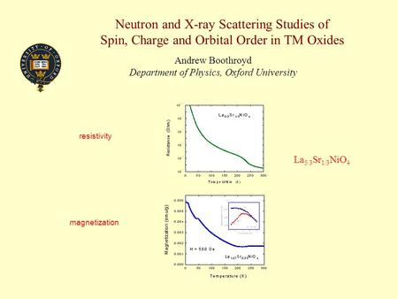 Neutron and X-ray Scattering Studies of Spin, Charge and Orbital Order in TM Oxides Andrew Boothroyd Department of Physics, Oxford University magnetization.