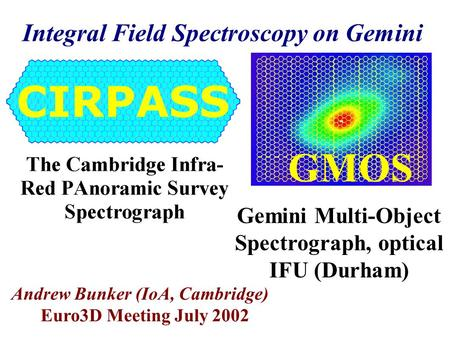 Integral Field Spectroscopy on Gemini Andrew Bunker (IoA, Cambridge) Euro3D Meeting July 2002 GMOS Gemini Multi-Object Spectrograph, optical IFU (Durham)
