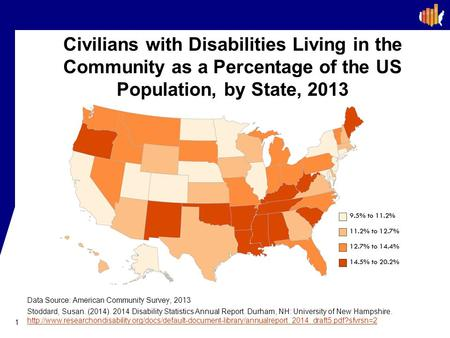 Civilians with Disabilities Living in the Community as a Percentage of the US Population, by State, 2013 In 2013, the state with the lowest percentage.