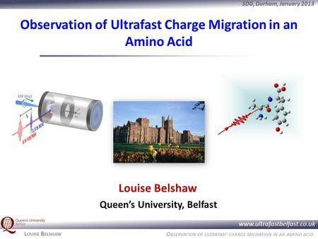 O BSERVATION OF ULTRAFAST CHARGE MIGRATION IN AN AMINO ACID www.ultrafastbelfast.co.uk SDG, Durham, January 2013 L OUISE B ELSHAW Observation of Ultrafast.