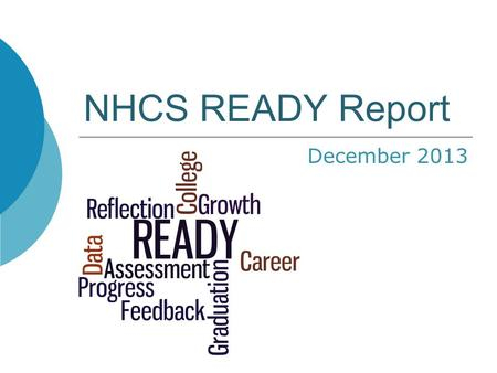 NHCS READY Report December 2013. Presentation Format Curriculum Change Rationale and Timeline Proficiency for Grades 3-8 School Growth Proficiency for.