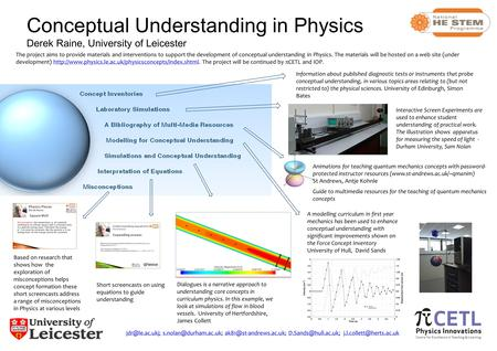 Conceptual Understanding in Physics Derek Raine, University of Leicester Interactive Screen Experiments are used to enhance student understanding of practical.
