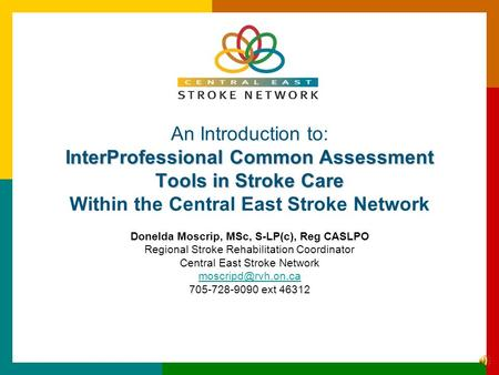 InterProfessional Common Assessment Tools in Stroke Care An Introduction to: InterProfessional Common Assessment Tools in Stroke Care Within the Central.