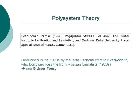 Polysystem Theory Even-Zohar, Itamar (1990) Polysystem Studies, Tel Aviv: The Porter Institute for Poetics and Semiotics, and Durham: Duke University Press.