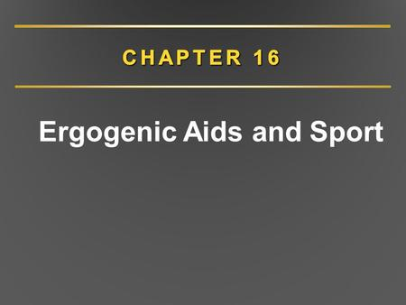 Ergogenic Aids and Sport
