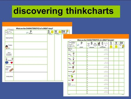 discovering thinkcharts The thinkchart organiser is a strategically designed tool to guide learners in their investigation of new information The tool.