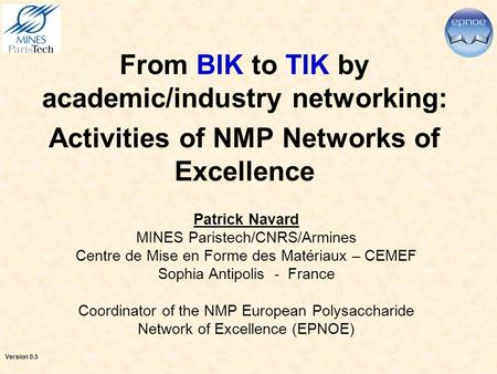 From BIK to TIK by academic/industry networking: Activities of NMP Networks of Excellence Patrick Navard MINES Paristech/CNRS/Armines Centre de Mise en.