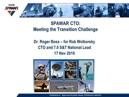 SPAWAR CTO: Meeting the Transition Challenge Dr. Roger Boss – for Rob Wolborsky CTO and 7.0 S&T National Lead 17 Nov 2010 Distribution A: Approved for.