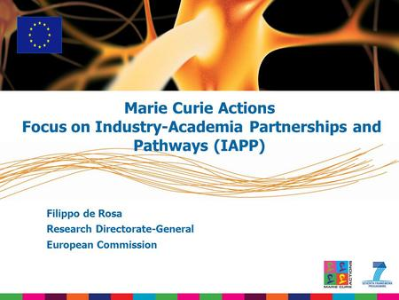 Filippo de Rosa Research Directorate-General European Commission Marie Curie Actions Focus on Industry-Academia Partnerships and Pathways (IAPP)