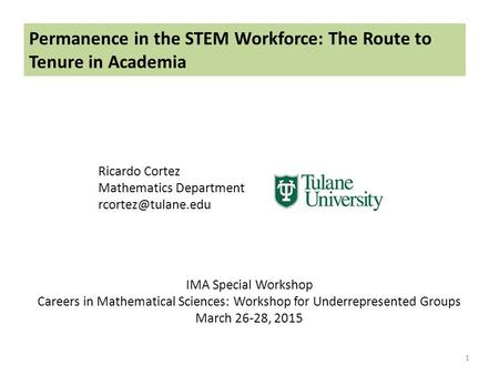 Permanence in the STEM Workforce: The Route to Tenure in Academia Ricardo Cortez Mathematics Department 1 IMA Special Workshop Careers.