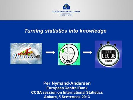 Turning statistics into knowledge Per Nymand-Andersen European Central Bank CCSA session on International Statistics Ankara, 5 S EPTEMBER 2013.
