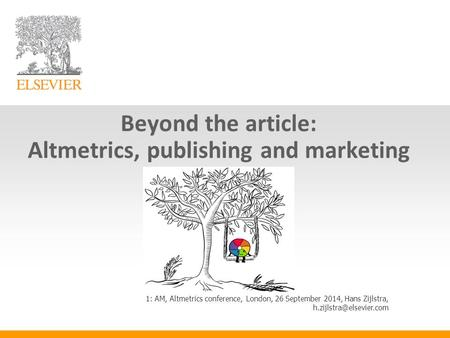Beyond the article: Altmetrics, publishing and marketing 1: AM, Altmetrics conference, London, 26 September 2014, Hans Zijlstra,