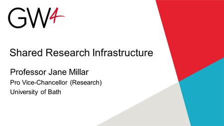 Shared Research Infrastructure Professor Jane Millar Pro Vice-Chancellor (Research) University of Bath.