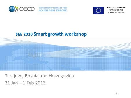 WITH THE FINANCIAL SUPPORT OF THE EUROPEAN UNION SEE 2020 Smart growth workshop Sarajevo, Bosnia and Herzegovina 31 Jan – 1 Feb 2013 1.