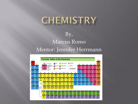 By, Marcus Romo Mentor: Jennifer Herrmann.  Organic chemistry involves studying the molecules of life.  These atoms are; carbon, hydrogen, oxygen, nitrogen,