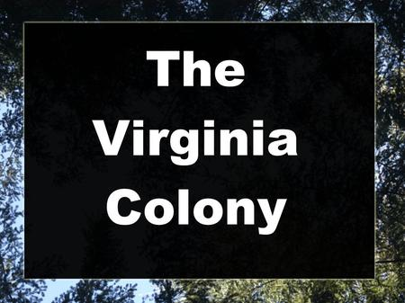 The Virginia Colony. The Virginia Colony was founded in 1607 Located on the James River Their climate was swampy and cool with forest areas Jamestown.