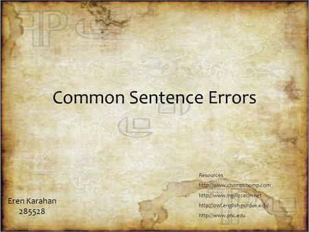 Common Sentence Errors Eren Karahan 285528 Resources