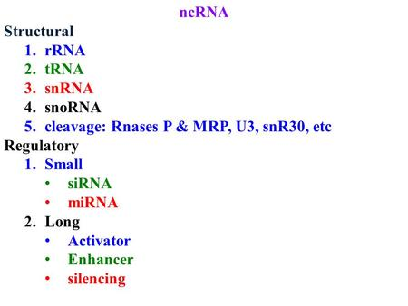 NcRNA Structural 1.rRNA 2.tRNA 3.snRNA 4.snoRNA 5.cleavage: Rnases P & MRP, U3, snR30, etc Regulatory 1.Small siRNA miRNA 2.Long Activator Enhancer silencing.